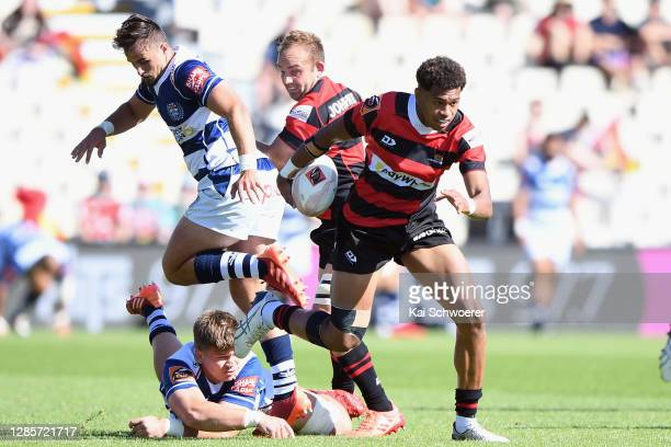 Chay Fihaki of Canterbury charges forward during the round 10 Mitre 10 Cup match between Canterbury and Auckland at Orangetheory Stadium on November...