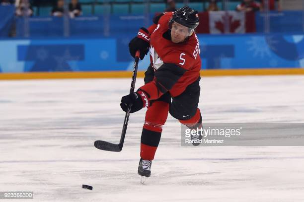 Chay Genoway of Canada controls the puck against Germany during the Men's Playoffs Semifinals on day fourteen of the PyeongChang 2018 Winter Olympic...