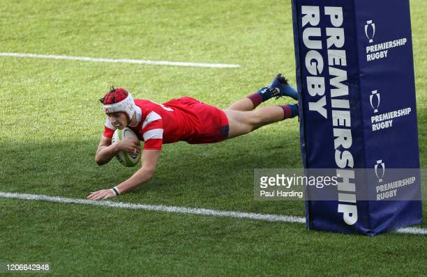 Chay Mullin of Bristol Bears scores their first try during the Newcastle Falcons v Bristol Bears fifth sixth place playoff match at Sixways Stadium...