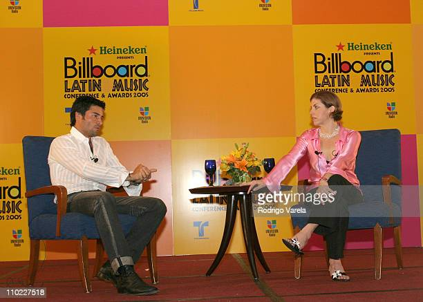 Chayanne and Leila Cobo during 2005 Billboard Latin Music Awards and Conference - Q&A with Chayanne at Intercontinental Hotel in Miami, Florida,...