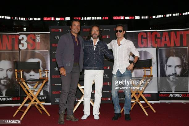Chayanne, Marco Antonio Solis and Marc Anthony attend a press conference to announce their tour at American Airlines Arena on April 23, 2012 in...