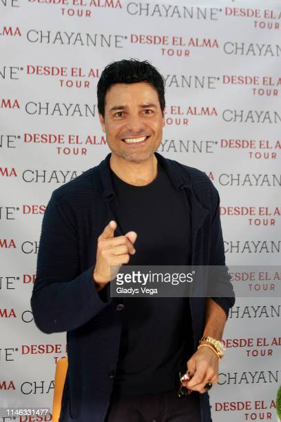 Chayanne poses for media during the press conference at Jet Aviation on May 1, 2019 in Carolina, Puerto Rico.