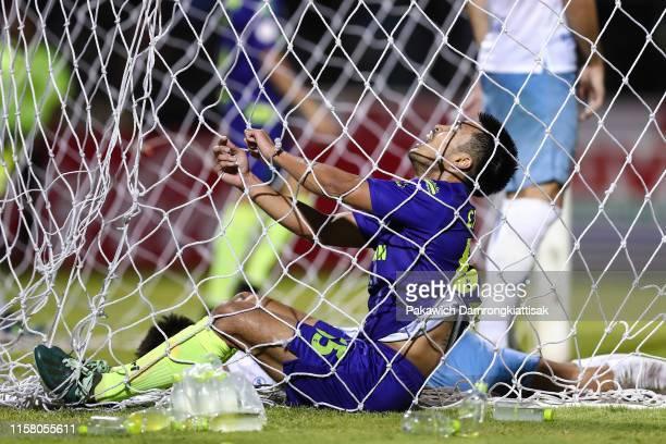 Chayawat Srinawong of Samut Prakan City shows dejection during the Thai League 1 match between Samut Prakan City and Buriram United at Samutprakan...