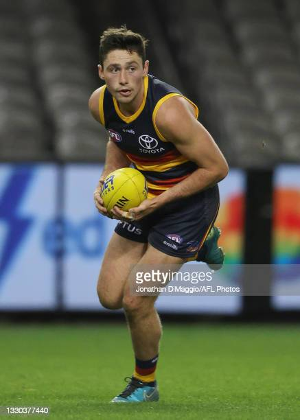 Chayce Jones of the Crows in action during the round 20 AFL match between Adelaide Crows and Hawthorn Hawks at Marvel Stadium on July 24, 2021 in...