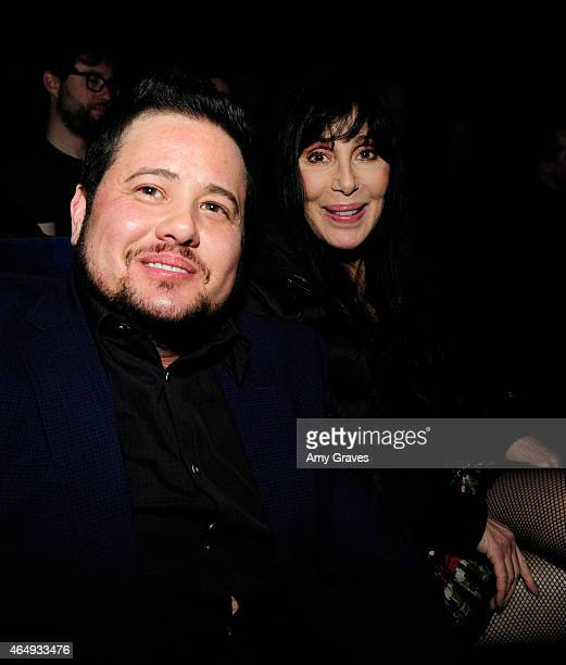 Chaz Bono and Cher attend the Los Angeles Screening of Dirty at Writers Guild Theater on March 1 2015 in Beverly Hills California