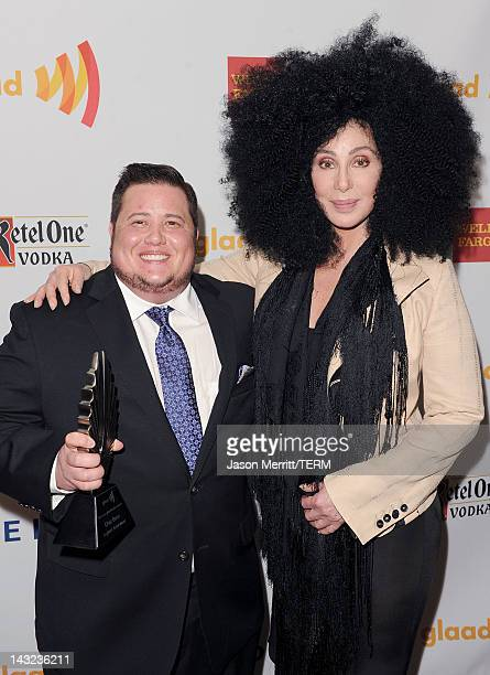 Chaz Bono and Cher backstage at the 23rd Annual GLAAD Media Awards presented by Ketel One and Wells Fargo held at Westin Bonaventure Hotel on April...