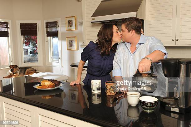Chaz Bono and Jennifer Elia during a photo shoot on October 22 2009 in Los Angeles Calofornia