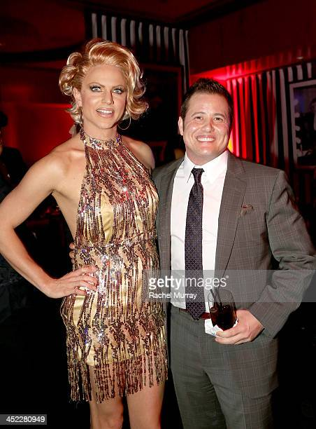 Chaz Bono and Singer/drag entertainer Courtney Act attend Dancing With The Stars Season 17 wrap party at Sofitel Los Angeles on November 26 2013 in...