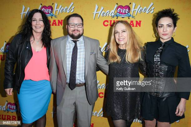 Chaz Bono poses for photos with original members of The GoGo's Kathy Valentine Charlotte Caffey and Jane Wiedlin on the red carpet for the...