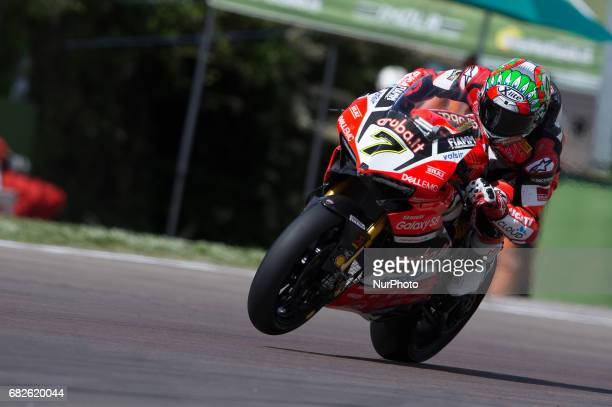 Chaz Davies of Arubait Racing Ducati mark the 1th time during the Superpole 2 of the Motul FIM Superbike Championship Italian Round at International...