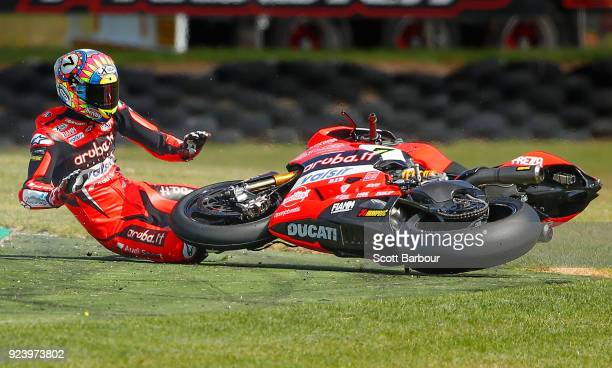 Chaz Davies of Great Britain and Arubait Racing Ducati crashes out on turn 10 during race 2 in the FIM Superbike World Championship during the 2018...