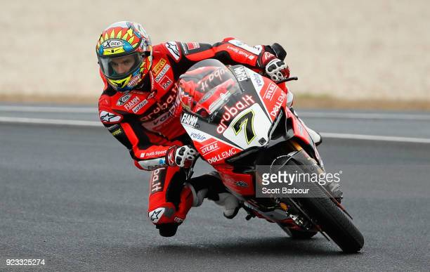 Chaz Davies of Great Britain and Arubait Racing Ducati rides in the FIM Superbike World Championship Free Practice session ahead of the 2018...