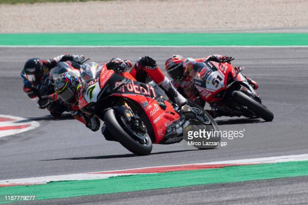 Chaz Davies of Great Britain and ARUBA.IT RACING-DUCATI leads the field during the Superbike race 2 during the FIM Superbike World Championship in...