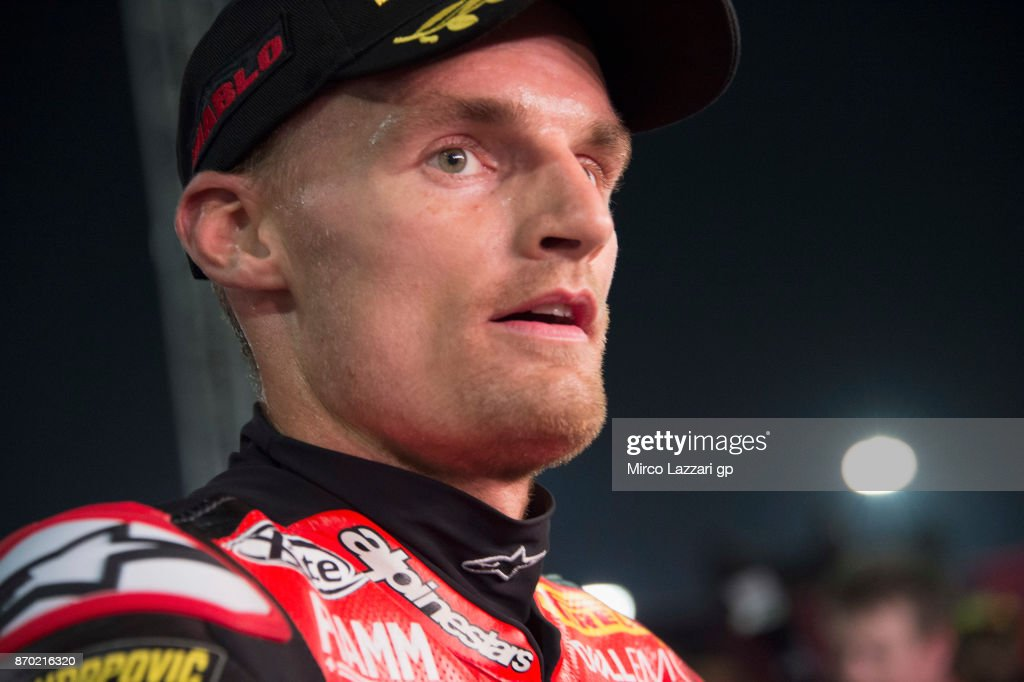 Chaz Davies of Great Britain and ARUBA.IT RACING-DUCATI speaks with journalists and celebrates the second place at the end of the Superbike race 2 during the FIM Superbike World Championship in Qatar - Race 2 at Losail Circuit on November 4, 2017 in Doha, Qatar.
