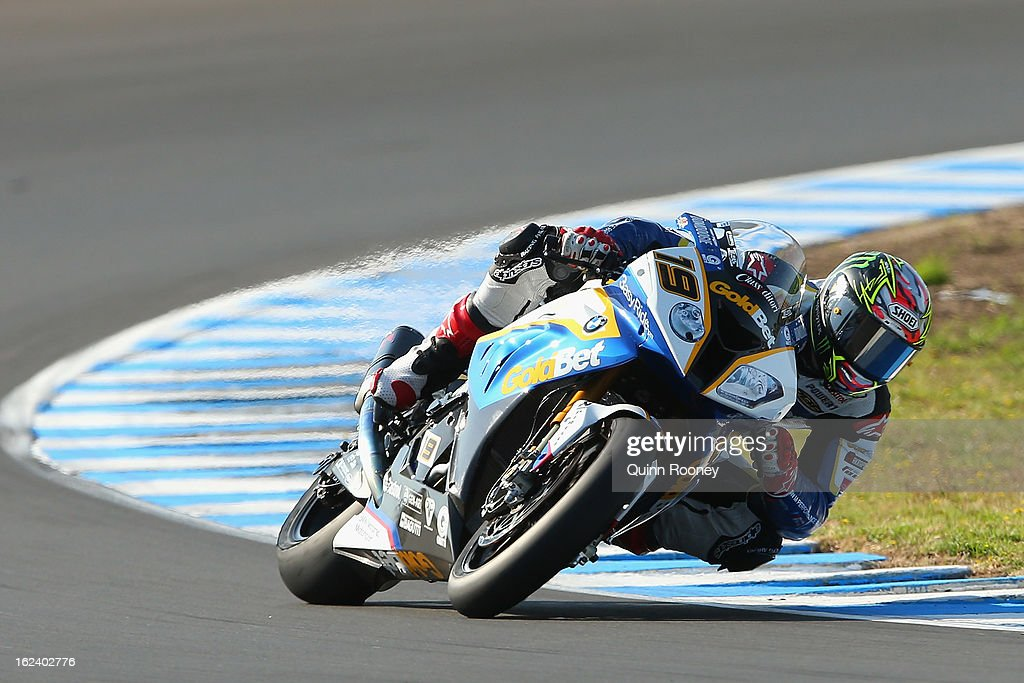 Chaz Davies of Great Britain riding the #19 BMW Motorrad Goldbet SBK Team during qualifying for the World Superbikes at Phillip Island Grand Prix Circuit on February 23, 2013 in Phillip Island, Australia.