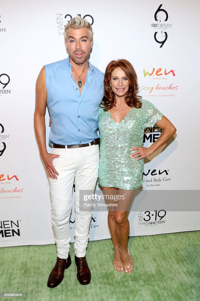 Chaz Dean (L) and Joanne Ferra attends Chaz Dean summer party benefiting Love Is Louder on August 12, 2017 in Los Angeles, California.