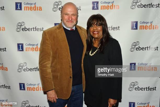 Chaz Ebert and Andy Davis attend the Roger Ebert Film Festival at Virginia Theatre on April 18 2018 in Champaign Illinois