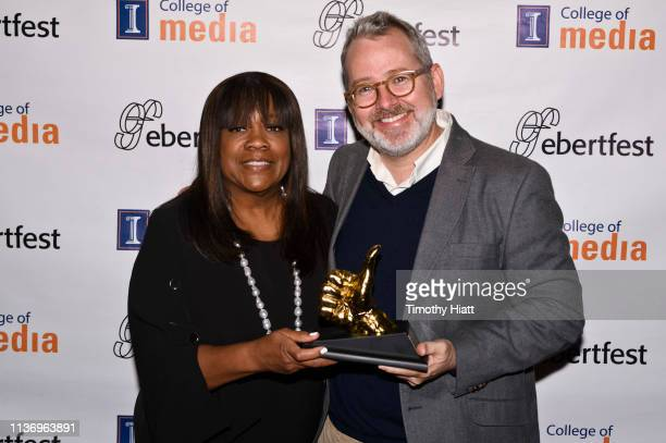 Chaz Ebert and Director Morgan Neville attend day four of Ebertfest on April 13 2019 in Champaign Illinois