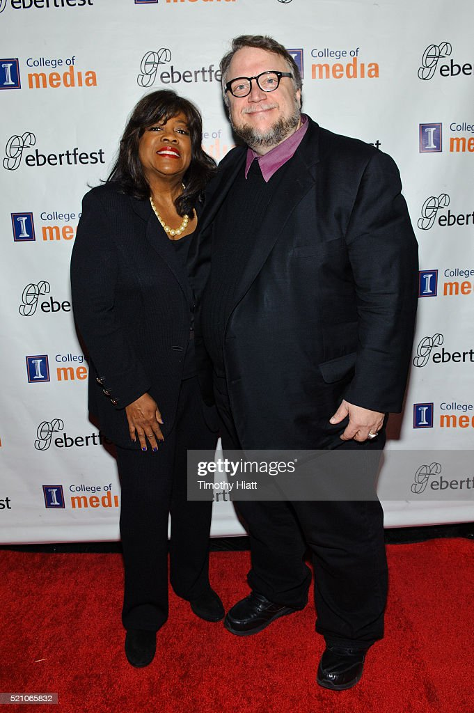 Chaz Ebert and Guillermo Del Toro attend opening night for the 2016 Ebertfest on April 14, 2016 in Champaign, Illinois.