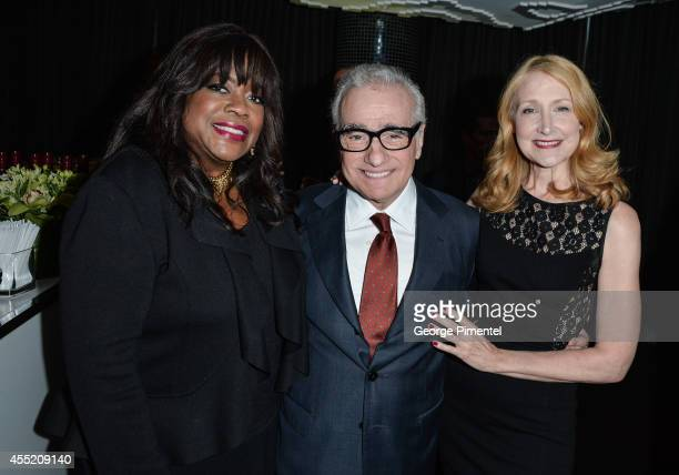 Chaz Ebert director Martin Scorsese and actress Patricia Clarkson attend the Ebert Dinner Hosted By Chaz Ebert And Martin Scorsese during the 2014...