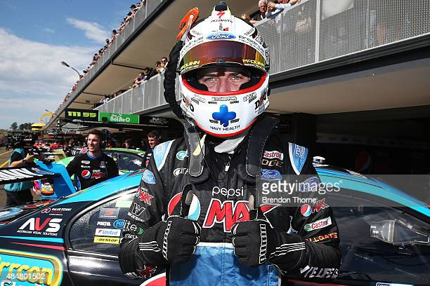 Chaz Mostert driver of the Pepsi Max Crew Ford celebrates claiming pole position during qualifying for the V8 Supercars Sydney Motorsport Park...
