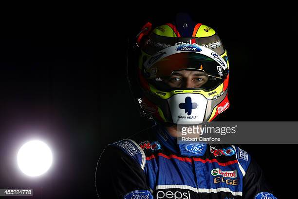 Chaz Mostert driver of the Pepsi Max Crew Ford poses during a V8 Supercars portrait session at Sandown International Raceway on September 11 2014 in...
