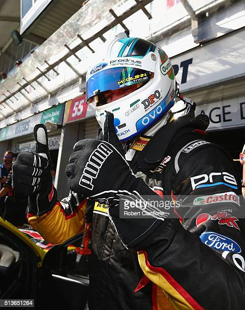 Chaz Mostert driver of the Supercheap Auto Racing Ford celebrates after taking pole position for race two after qualifying session two for the V8...
