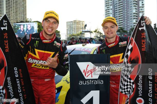 Chaz Mostert driver of the Supercheap Auto Racing Ford Falcon FGX and James Moffat driver of the Supercheap Auto Racing Ford Falcon FGX celebrate...