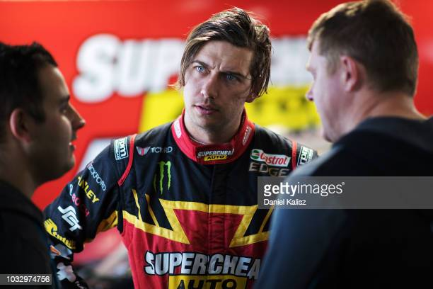 Chaz Mostert driver of the Supercheap Auto Racing Ford Falcon FGX looks on during practice for the Supercars Sandown 500 at Sandown International...
