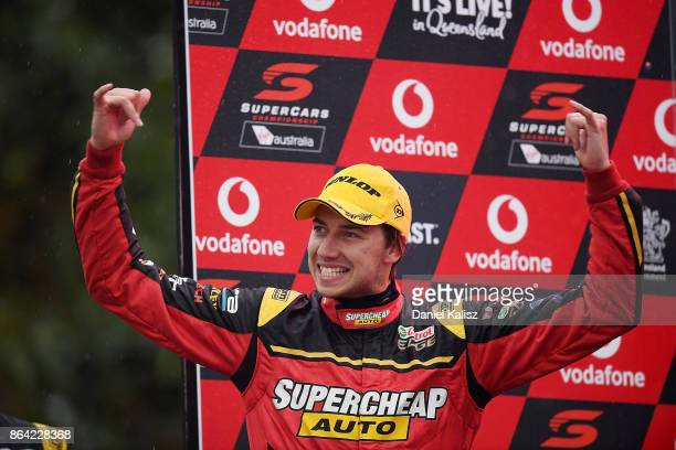 Chaz Mostert driver of the Supercheap Auto Racing Ford Falcon FGX celebrates after winning race 21 for the Gold Coast 600 which is part of the...
