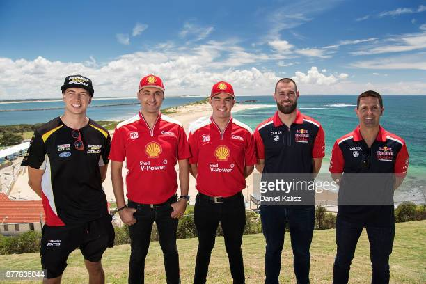 Chaz Mostert driver of the Supercheap Auto Racing Ford Falcon FGX Fabian Coulthard driver of the Shell VPower Racing Team Ford Falcon FGX Scott...