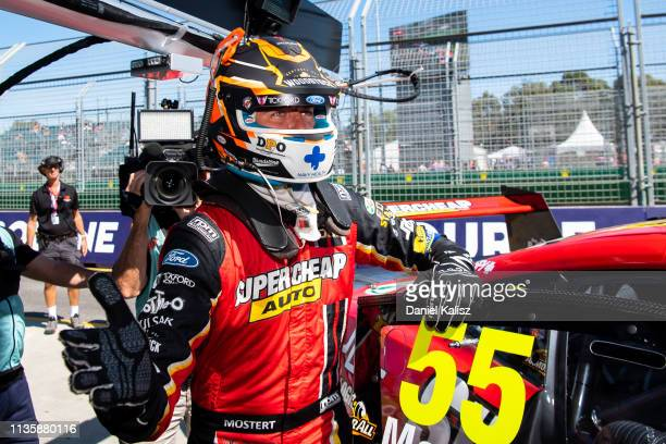 Chaz Mostert driver of the Supercheap Auto Racing Ford Mustang celebrates after taking pole position for race 4 of the Melbourne 400 Supercars...
