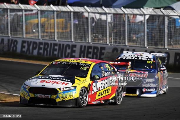 Chaz Mostert drives the Supercheap Auto Racing Ford Falcon FGX during race 20 of the Supercars Ipswich SuperSprint on July 22 2018 in Brisbane...