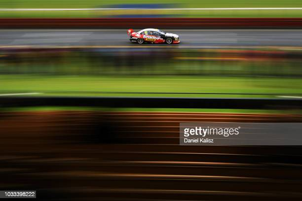 Chaz Mostert drives the Supercheap Auto Racing Ford Falcon FGX during practice for the Supercars Sandown 500 at Sandown International Motor Raceway...