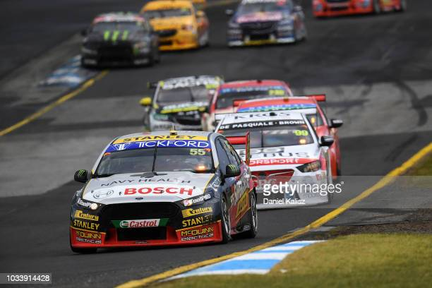 Chaz Mostert drives the Supercheap Auto Racing Ford Falcon FGX during race for grid 2 for the Supercars Sandown 500 at Sandown International Motor...