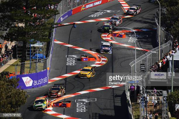 Chaz Mostert drives the Supercheap Auto Racing Ford Falcon FGX during the Supercars Gold Coast 600 on October 20 2018 in Gold Coast Australia