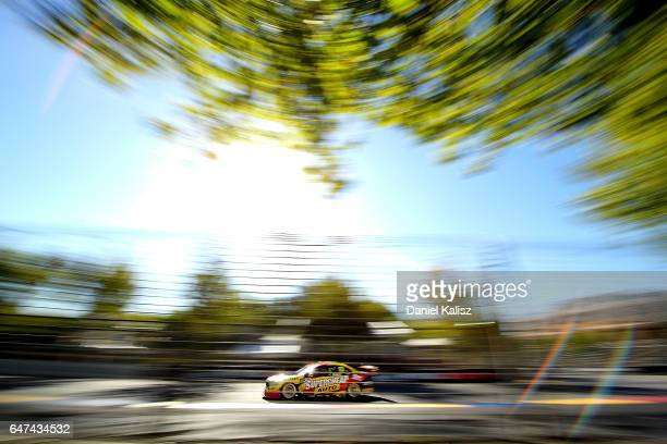 Chaz Mostert drives the Supercheap Auto Racing Ford Falcon FGX during the Clipsal 500 which is part of the Supercars Championship at Adelaide Street...