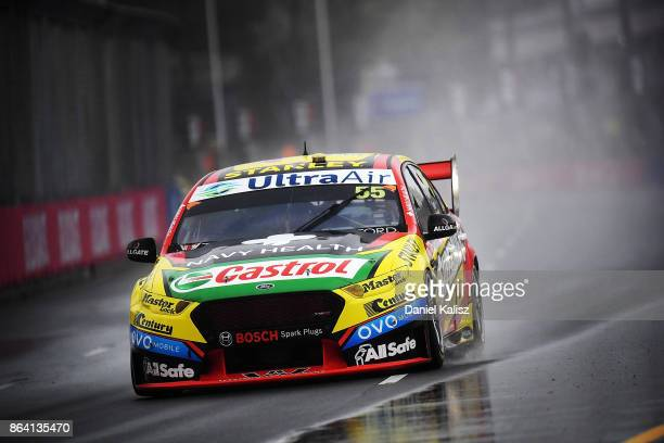 Chaz Mostert drives the Supercheap Auto Racing Ford Falcon FGX during qualifying for race 21 for the Gold Coast 600 which is part of the Supercars...