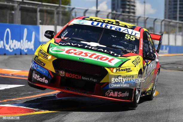 Chaz Mostert drives the Supercheap Auto Racing Ford Falcon FGX during qualifying for race 22 for the Gold Coast 600 which is part of the Supercars...