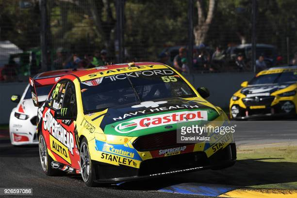 Chaz Mostert drives the Supercheap Auto Racing Ford Falcon FGX during race 1 for the Supercars Adelaide 500 on March 2 2018 in Adelaide Australia