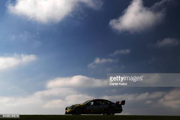 Chaz Mostert drives the Supercheap Auto Racing Ford Falcon FGX during race 10 for the Supercars Phillip Island 500 at Phillip Island Grand Prix...