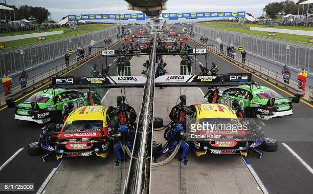 Chaz Mostert drives the Supercheap Auto Racing Ford Falcon FGX makes a pitstop during race 6 for the Phillip Island 500 which is part of the...