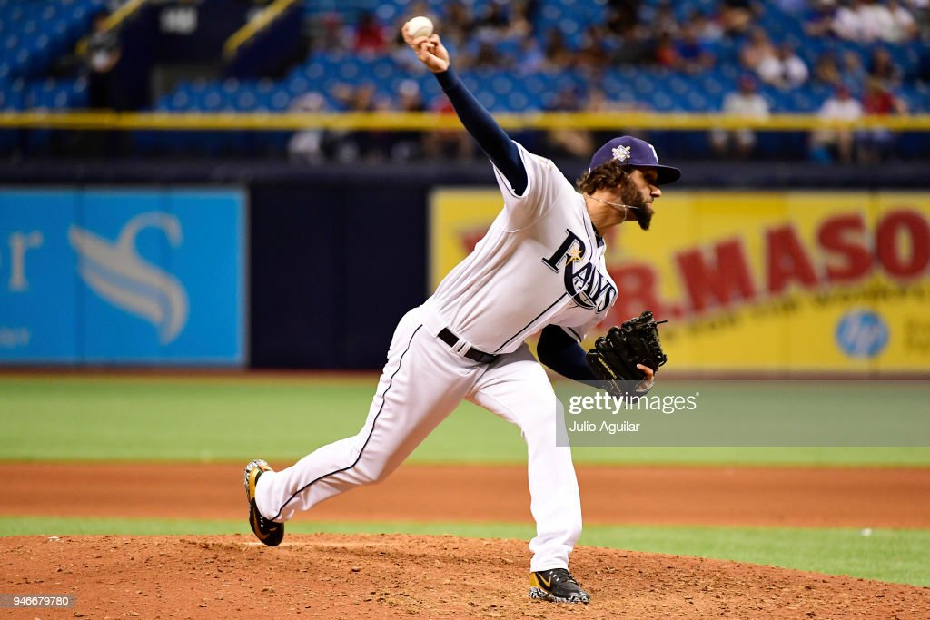 Chaz Roe #52 of the Tampa Bay Rays pitches during the ninth inning against the Philadelphia Phillies on April 15, 2018 at Tropicana Field in St Petersburg, Florida. All players are wearing #42 in honor of Jackie Robinson Day.