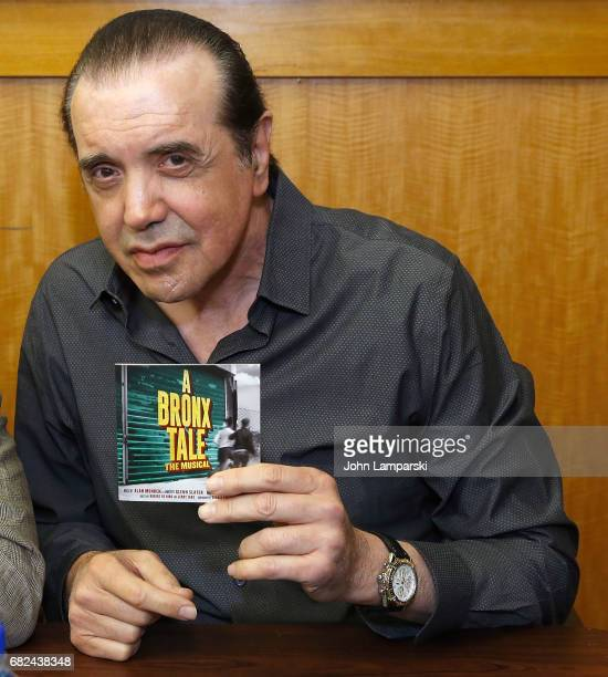 Chazz Palminteri from the cast and creators of Broadway's A Bronx Tale signs copies of the shows soundtrack at Barnes Noble 86th Lexington on May 12...