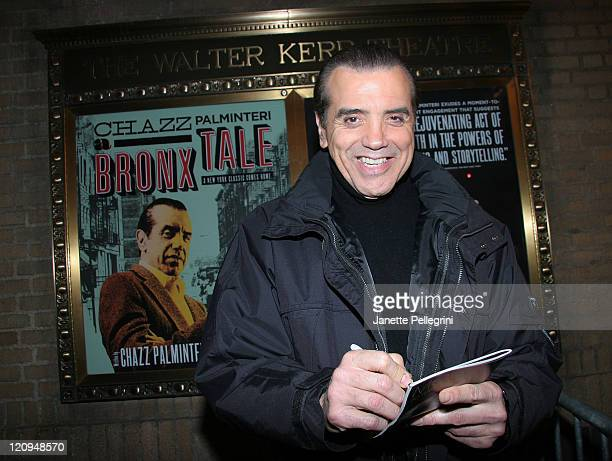 Chazz Palminteri signs autographs at the reopening of A Bronx Tale on Broadway after the Stagehands' strike ends at Walter Kerr Theatre on November...