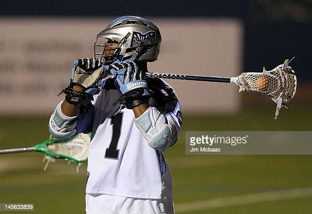 Chazz Woodson of the Ohio Machine in action against the Long Island Lizards during their Major League Lacrosse game on June 1 2012 at Shuart Stadium...