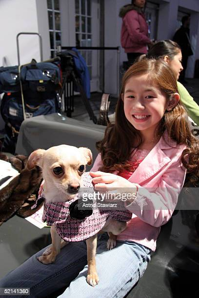 Chbe Fu and chihuahua Lucy Anne attend Olympus Fashion Week Fall 2005 at Bryant Park February 05, 2005 in New York City.