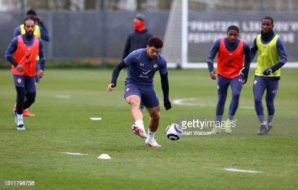 Che Adams during a Southampton FC training session at the Staplewood Campus on April 10, 2021 in Southampton, England.