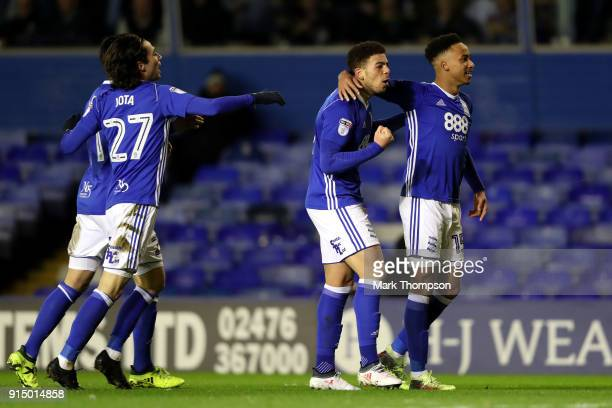 Che Adams of Birmingham celebrates with teammate Cohen Bramall after scoring his sides first goal during The Emirates FA Cup Fourth Round match...