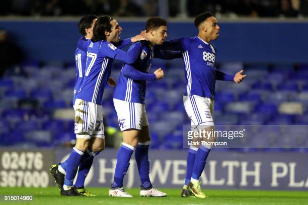 Che Adams of Birmingham celebrates with teammates after scoring his sides first goal during The Emirates FA Cup Fourth Round match between Birmingham...